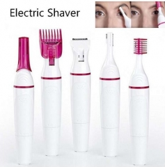 5in1 Women Eyebrow Trimmer Face Bikini Trimmer  Shaver Hair Removal for Legs Arm Armpit white one size
