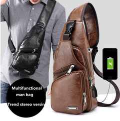 Men's Fashion Bag Theftproof Leather Chest Bags Men Shoulder Bags Chest Waist Pack khaki one size