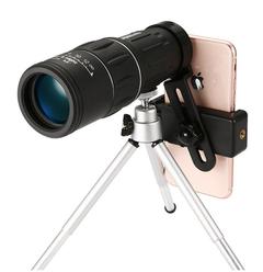 New pattern Night Vision 16x52 Optics Zoom Lens Monocular Telescope +Mobile phone holder+Bracket black one size
