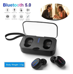 TWS Bluetooth 5.0 Earphones Wireless Stereo In-Ear Headphone Sports Earbuds with Mic Charging Box black