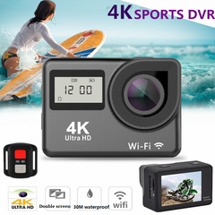 4K Full HD WiFi  1080P Double Screens Touch Screen Sport Camera Action Camcorder silver grey one size