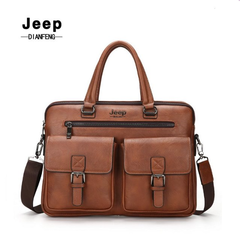 High Quality JEEP Men Leather Sling Bag Shoulder Bag Special Counter Light brown one size