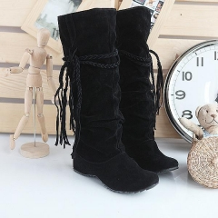 Velvet Tassel Flats Knee High Boots Women Shoes Black US 8