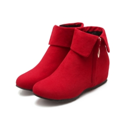 Lapel Flats Ankle Boots Side Zipper Wedge Heels Red US 3