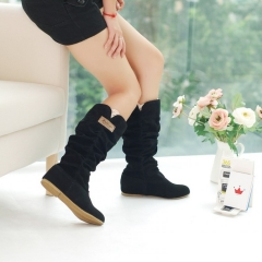 Faux Suede Flats Boots Women Black US 4