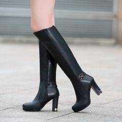 PU Leather Side Zip Chunky Heel Tall Boots Black 34