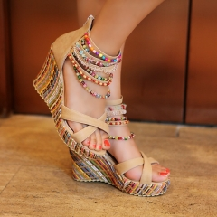 Beads Ankle Wrap Platform Sandals Wedge Heels Beige US 4