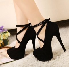 Faux Suede Strappy Platform Pumps High Heels Club Shoes Black 35