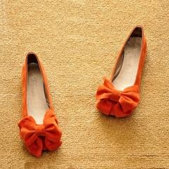 Round Toe Bow Suede Flat Shoes Women Orange 36