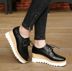 Black Lace Up Platform Wedge Shoes Black 38