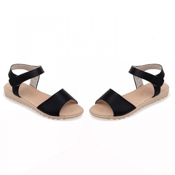 e8e0193de5e Velcro Ankle Strap Flats Sandals Women Shoes Black US 3   Kilimall Kenya