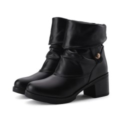 Lapel Ankle Boots Low Chunky Heels Women Shoes Black US 3