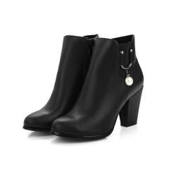 Pearl High Heels Ankle Boots Chunky Heel Black US 3