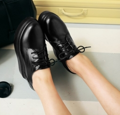 Lace Up Platform Wedge Shoes Black 35