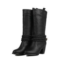 Women Round Toe Buckle Belt Knee High Boots Thick Heeled Black US 3