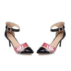 Pointed Toe Ankle Straps Flower Printed Stiletto Heel Women Sandals Black US 3
