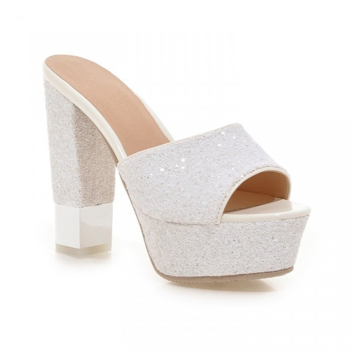 8e58ce49e Kilimall  Women Glitter Platform Slides Sandals High Heels Chunky ...