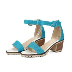 Ankle Straps Women Sandals Chunky Heel Pumps Blue US 3