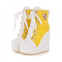 Metal Decoration Lace Up Platform Wedges Ankle Boots Yellow US 3