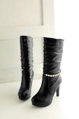 Beads Chains High Heels Women Boots Stiletto Heel Black US 3