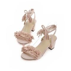 Bohemia Cross Strap Tassel Women Sandals Chunky Heel Pumps Pink US 3