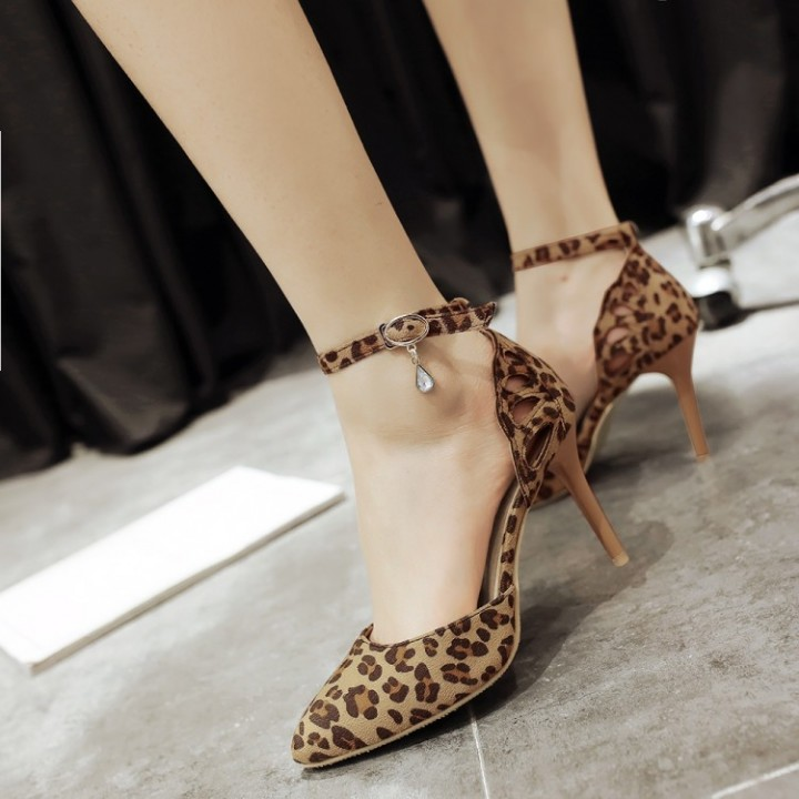 ba188340aa5 Pointed Toe Ankle Strap Leopard Print High Heel Sandals Stiletto Heel  Leopard Print US 4
