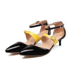 Covered Pointed Toe Color Block Buckle Ankle Straps Cone Heel Women Sandals Black US 3