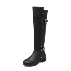 Women Rhinestone Buckle Knee High Boots Medium Heel Black US 3