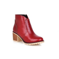 Retro Ankle Boots High Heels Motorcycle Boots Chunky Heel Red US 3