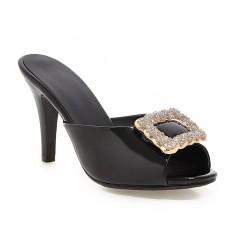 Women Peep Toe Rhinestone Stiletto Heel Slides Sandals Black US 3