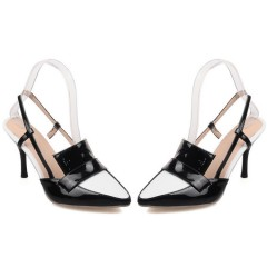 Pointed Toe Mix Colors High Heel Slingbacks Sandals Dress Shoes Black US 3