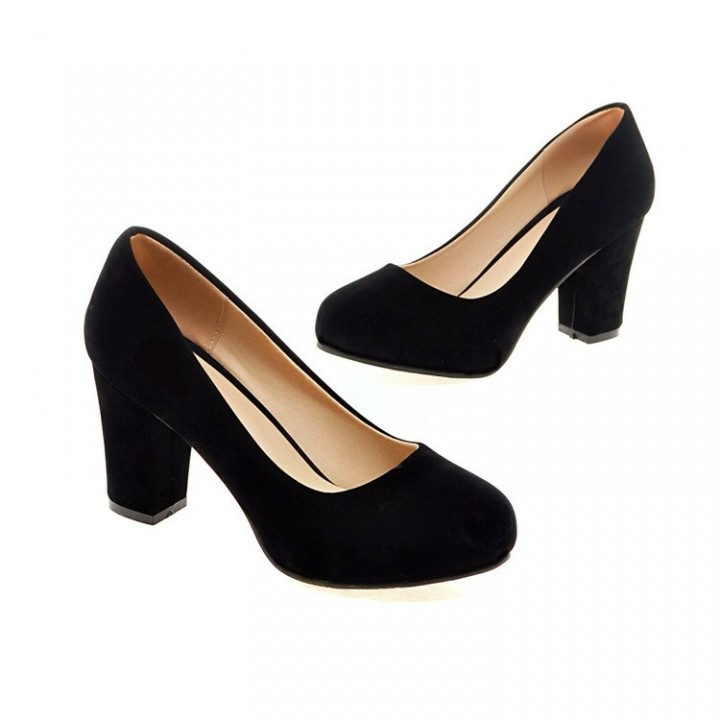 056fd8bf335 Women Round Toe High Heels Chunky Heel Pumps Dress Shoes Black US 4 ...