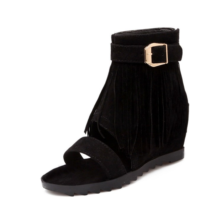 c0c7719244f Women Tassel Buckle Flats Gladiator Sandals Wedge Heel Black US 4  Product  No  1312074. Item specifics  Seller SKU C1247-4-Black  Brand