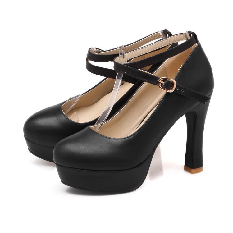9963842461b Cross Strap Women Pumps Platform High Heels Dress Shoes Black US 4 ...