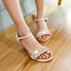 Women Ankle Strap Buckle Rhinestone Wedge Sandals Beige US 3