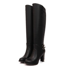 Women Pu Leather Buckle Over the Knee Boots High Heels Black US 3