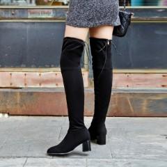 Side Zipper Thigh High Boots Chunky Heel Women Shoes Black US 3