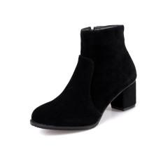 Flock Zipper Chunky Heels Ankle Boots Black US 4