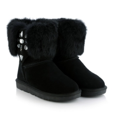 Genuine Leather Rhinestone Rabbit Fur Flat Snow Boots Black US 3