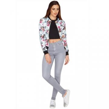 Junlin Hot Plus Size Fat Women Fashion Fresh Floral Printing Long Sleeve Jacket white m