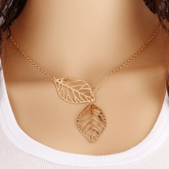 2018 Fashion Jewelry Mori Metal Hollow Leaves Short Necklace pendant Lock Bone Chain Gifts for women gold one size