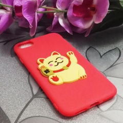 Cartoon Lucky Cat phone case for Apple iphone 5 5s 6 6s 7 8 plus X silicone shockproof protector red iphone 6 / 6s