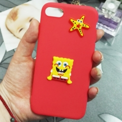 Cartoon SpongeBob phone case for Apple iphone 5 5s 6 6s 7 8 plus X silicone shockproof protector red iphone 6 / 6s