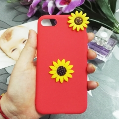 Cartoon sunflower phone case for Apple iphone 5 5s 6 6s 7 8 plus X silicone shockproof protector red iphone 6 / 6s