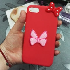 Cartoon Bowknot phone case for Apple iphone 5 5s 6 6s 7 8 plus X silicone shockproof protector red iphone 6 / 6s
