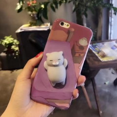 For iPhone 7 6 6S Plus Squishy Case 3D Cat Polar Bear Seal Animal Cover For iPhone 5 5S SE 6 7 grey cat for iphone 6 6s