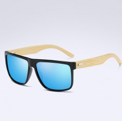 Men Bamboo Sunglass Women Brand Design Sport Goggles Gold Mirror Sun Glasses Shades lunette oculo Blue One size