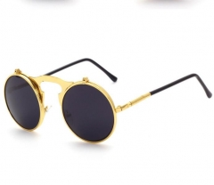 round Designer steam punk Metal OCULOS de sol women COATING SUNGLASSES Men Retro CIRCLE SUN GLASSES Gold one size