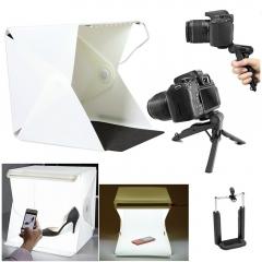 Photo Video Photography Mini Portable Table Top LED Light Tent Box + Desk Tripod + Phone Clip Kit as picture one size