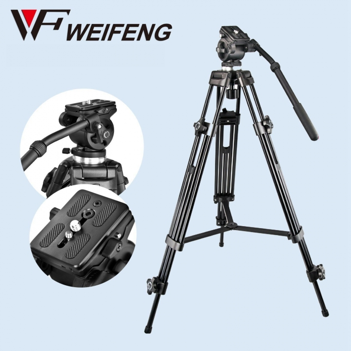 Weifeng Pro WF-717 Heavy Duty Camera Tripod Fluid Video Head Pan Tilt for DSLR Camcorder as picture 130cm